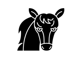 Funny horse black icon, concept vector sign on isolated background. Funny horse illustration, symbol