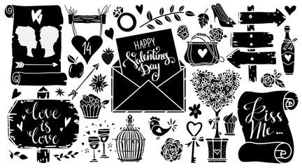 Valentines day design elements, icons