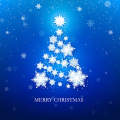 White snowflake Christmas tree on blue background. Christmas greeting card. Vector illustration