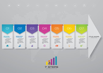 7 steps arrow infographics chart design element. For data presentation. EPS 10.