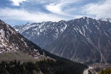 Scenic landscape in Ala Archa national park in Tian Shan mountain range, Kyrgyzstan