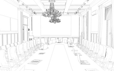 conference room, meeting room, contour visualization, 3D illustration, sketch, outline