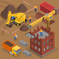 Building Crane Isometric Composition