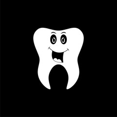 Smiling tooth icon, Tooth logo on dark background