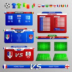 Soccer Broadcast Elements Transparent Set