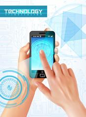 Hands Smartphone Realistic