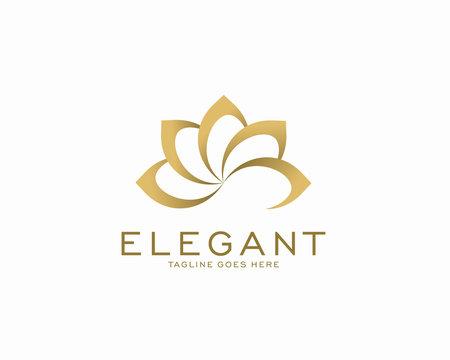 Luxury logo design concept, Flower lotus logo, Beauty or spa logo template