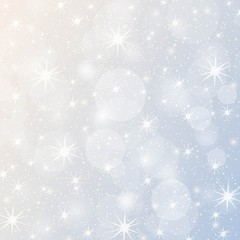 Christmas vector background with stars, snowflakes and sparkles. Sparkling silver bokeh banner template, poster, invitation, greetings.