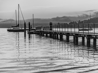 Low Clouds and Wharf Waterscape in Black and White