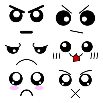 Set of Cartoon Faces Expressions. Emoticons in Anime Style. Vector Illustration of Emotions for Your Design, Game, Card.