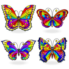 Set of bright abstract rainbow butterflies in stained glass style, isolated on white background