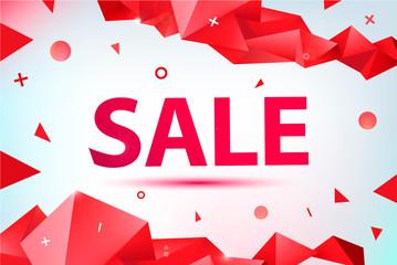 Vector promo, sale poster, banner. eometric facet 3d shapes, discount design