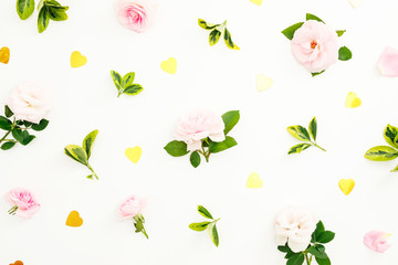 Valentines day composition with roses flowers, leaves and golden confetti on white background. Flat lay, top view.
