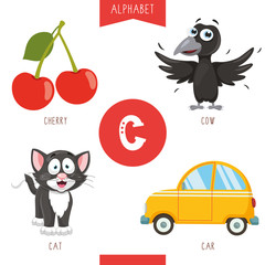 Vector Illustration Of Alphabet Letter C And Pictures