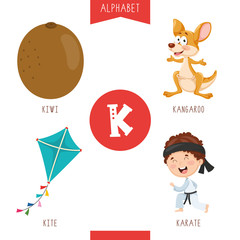 Vector Illustration Of Alphabet Letter K And Pictures