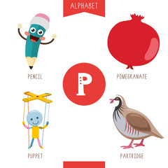 Vector Illustration Of Alphabet Letter P And Pictures