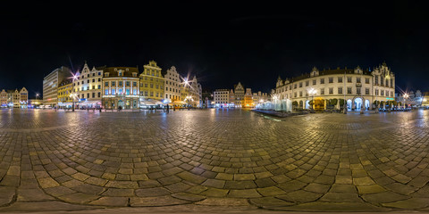 full seamless spherical night panorama 360 degrees district Ostrow Tumski with spires of gothic cathedral 360 panorama in equirectangular projection, AR VR content