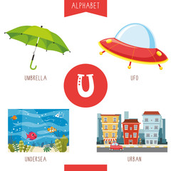 Vector Illustration Of Alphabet Letter U And Pictures