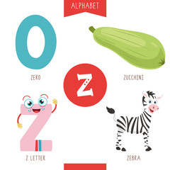 Vector Illustration Of Alphabet Letter Z And Pictures