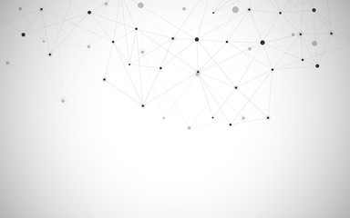 Geometric abstract background with connected dots and lines. Molecular structure and communication. Digital technology background and network connection.