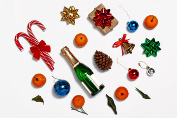christmas, champagne, new year, christmas items, top view