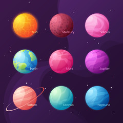 The Solar system. Colorful cartoon set with sun and planets. Vec