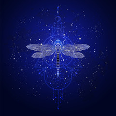 Vector illustration with hand drawn dragonfly and Sacred geometric symbol against the starry sky. Abstract mystic sign.