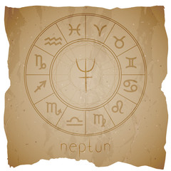 Vector illustration with Hand drawn astrological planet symbol NEPTUNE on a grunge old background.
