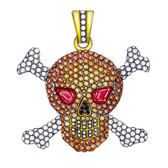 Jewelry Design Pirate Skull Pendant. Hand drawing and painting on paper.