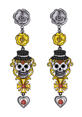 Jewelry Design Skull  Earrings Day of the dead. Hand drawing and painting on paper.