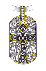 Jewelry Design Skull Cross Pendant. Hand drawing and painting on paper.