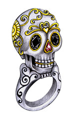 Jewelry Design Skull Ring Day of the dead. Hand drawing and painting on paper.