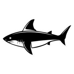 Shark illustration. Design elements for logo, label, emblem, sign, menu.