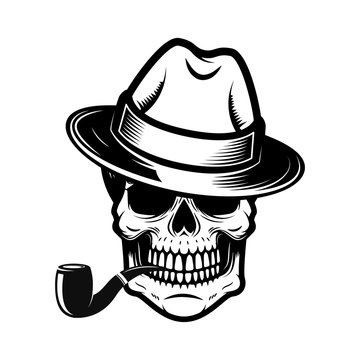 Gentleman skull with smoking pipe. Design element for logo,  label, sign, t shirt.