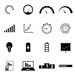 Different phases of speedometer, loading, indicators icons set