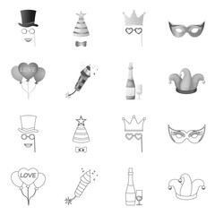 Vector illustration of party and birthday icon. Set of party and celebration vector icon for stock.