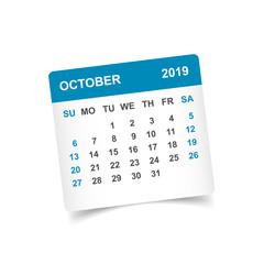Calendar october 2019 year in paper sticker with shadow. Calendar planner design template. Agenda october monthly reminder. Business vector illustration.