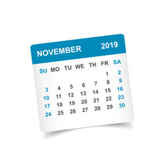 Calendar november 2019 year in paper sticker with shadow. Calendar planner design template. Agenda november monthly reminder. Business vector illustration.