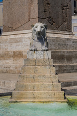 Fountain in the form of a statue of a lion in Rome, Italy