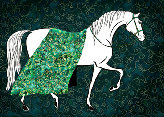 Beautiful white fairy horse with luxurious gold cloth floral pattern brocade blanket. Hand drawing fantasy art with green watercolor texture. Artistic hand painting dark background.