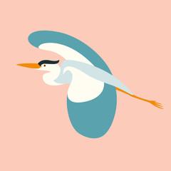 blue  heron flying , vector illustration , flat style