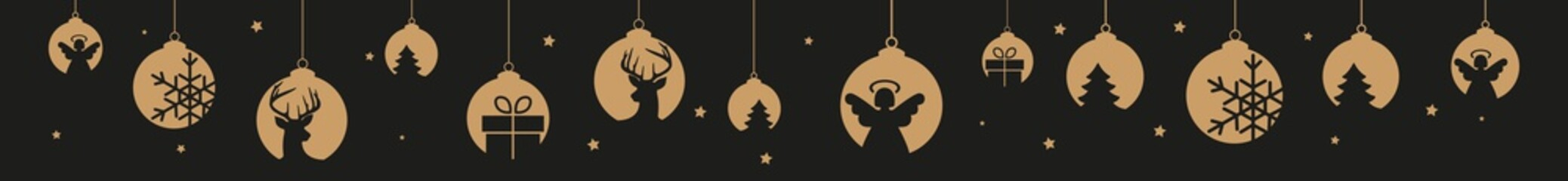 goldene Christbaumkugeln und Sterne Header