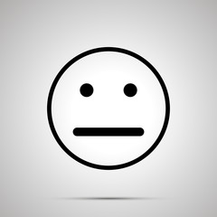 Neutral face emoticon for rate of satisfaction level, simple black silhouette