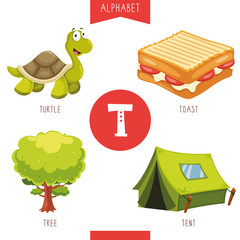 Vector Illustration Of Alphabet Letter T And Pictures