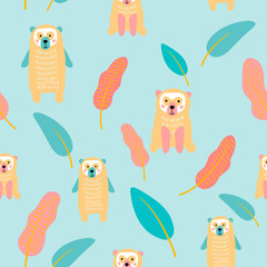 vector bear wild animal south america tropical leaf for your design paper textile childish simple seamless pattern