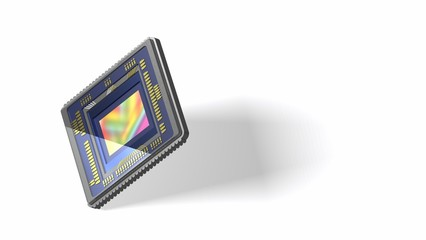 Smartphone camera sensor isolated on white, wide 16x9 format, space for text, 3D rendering