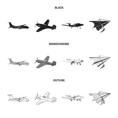 Vector design of plane and transport icon. Collection of plane and sky vector icon for stock.