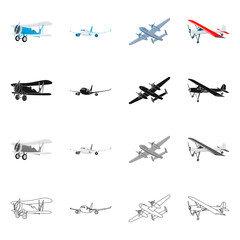 Isolated object of plane and transport sign. Collection of plane and sky stock vector illustration.