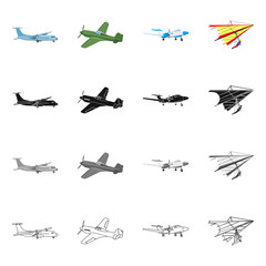 Vector illustration of plane and transport icon. Set of plane and sky vector icon for stock.