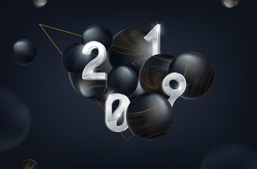 Vector 2019 New Year Black background